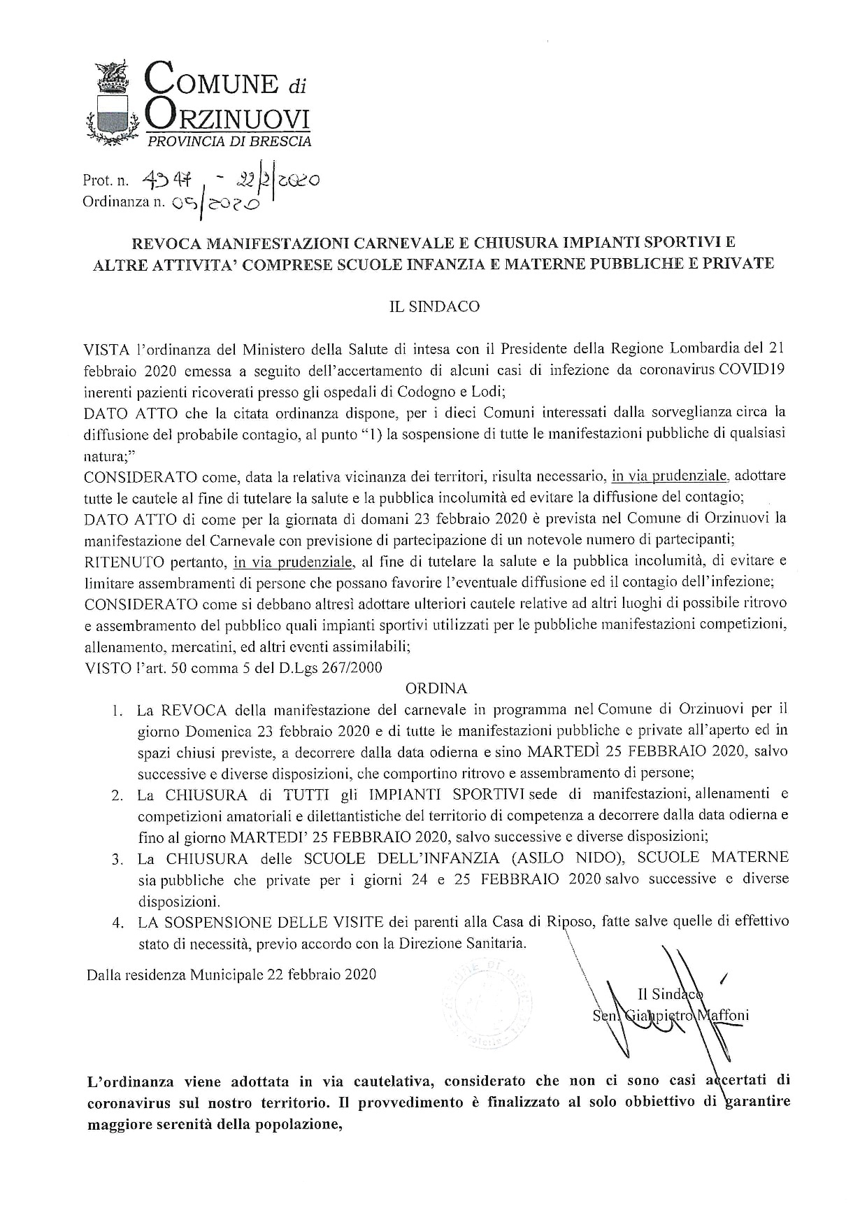 Orzinuovi chiude le scuole e gli impianti sportivi-2