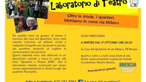 """Brescia: Laboratorio di teatro """"oltre la strada, i quartieri. Mettiamo in scena via milano"""""""