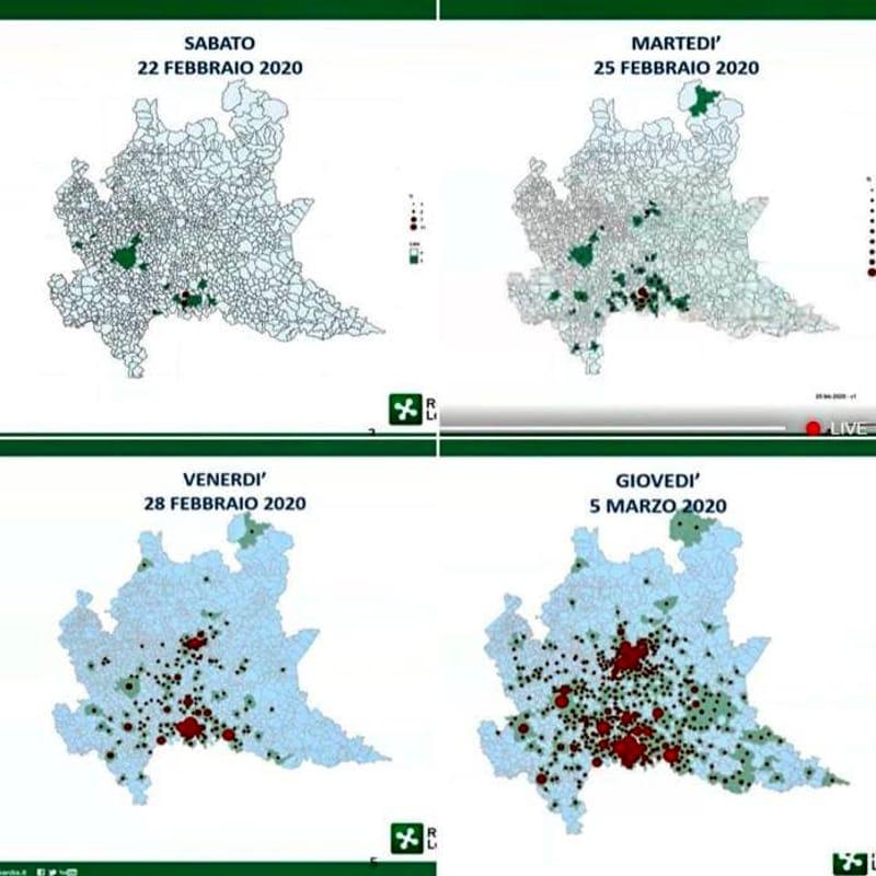 Immagini Lombardia Cartina.Coronavirus Impressionante La Mappa Del Contagio In Lombardia